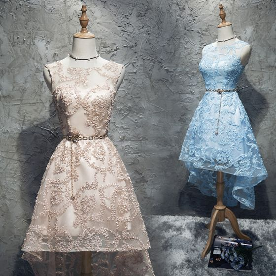 Chic / Beautiful Homecoming Graduation Dresses 2017 A-Line / Princess Lace Metal Scoop Neck Zipper Up Appliques Sleeveless Short