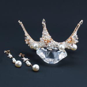 Eleganckie Złote Kolczyki Tiara Biżuteria Ślubna 2020 Stop Kryształ Perła Ślub Akcesoria