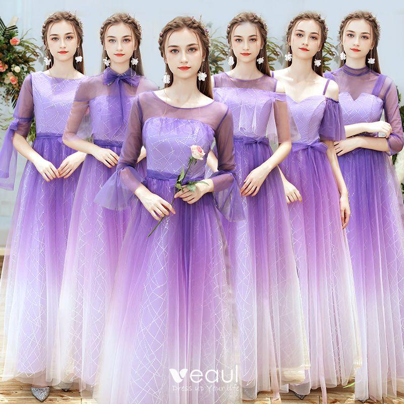 Elegant Lilac Gradient Color Bridesmaid Dresses 2019 A Line Princess Glitter Sequins Floor Length Long Ruffle Backless Wedding Party Dresses