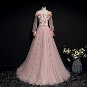 Chic / Beautiful Pearl Pink Suede Evening Dresses  2020 A-Line / Princess Off-The-Shoulder Spaghetti Straps Puffy Long Sleeve Sash Appliques Flower Beading Floor-Length / Long Ruffle Backless Formal Dresses