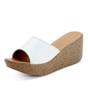 Overkommelige Hvide Casual Sandaler Dame 2019 7 cm Kilehæl Plateau Peep Toe Sandaler