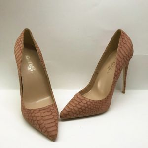 Chic / Beautiful Brown Evening Party Pumps 2020 Snakeskin Print 12 cm Stiletto Heels Pointed Toe Pumps