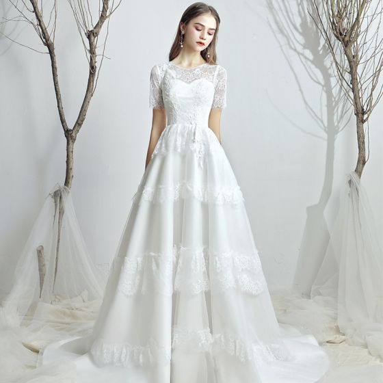 Classy White Chiffon Outdoor / Garden Wedding Dresses 2019 A-Line / Princess Scoop Neck Short Sleeve Backless Appliques Lace Sweep Train Ruffle