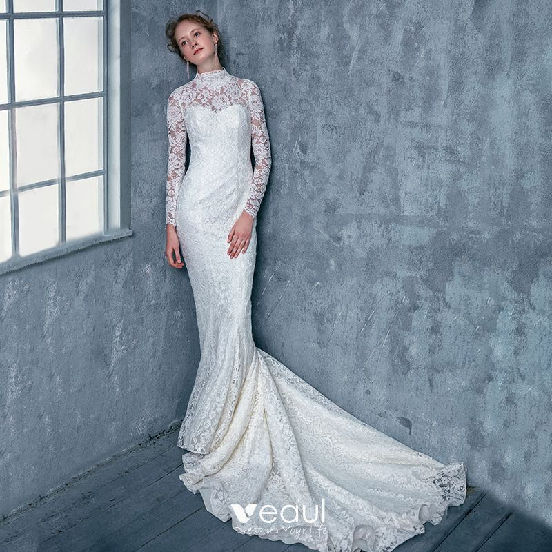 Lace Mermaid Wedding Dresses High Neck Bridal Gowns Backless Long Sleeve Train