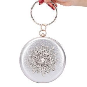 Mooie / Prachtige Zilveren Lakleer Ronde Handtassen 2020 Metaal Rhinestone