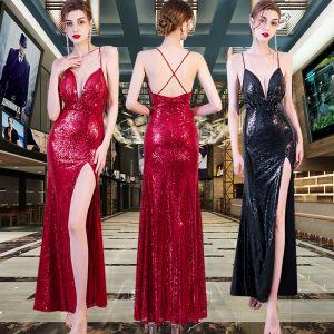 Sexy Lentejuelas Vestidos de noche 2020 Trumpet / Mermaid Spaghetti Straps Sin Mangas Delante De Split Largos Sin Espalda Vestidos Formales