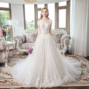 Chic / Beautiful Champagne Wedding Dresses 2018 A-Line / Princess Off-The-Shoulder Short Sleeve Backless Lace Appliques Chapel Train Ruffle