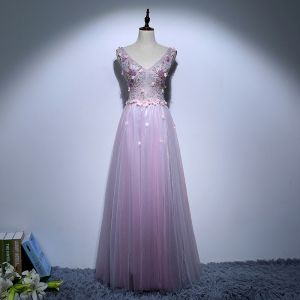 Chic / Beautiful Purple Evening Dresses  2017 A-Line / Princess V-Neck Lace Pearl Backless Appliques Beading Handmade  Evening Party Formal Dresses