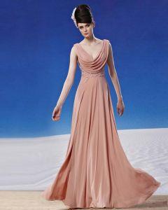V-ausschnitt Bodenlange Sicke Chiffon Gefaltete Frauen Abendkleid