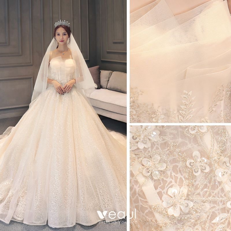 Chic Beautiful Champagne Lace Wedding Dresses 2019 Ball Gown Strapless Sleeveless Backless Glitter Tulle Appliques Lace Beading Chapel Train Ruffle