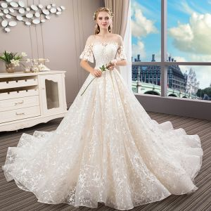 Romantic Champagne See-through Bridal Wedding Dresses 2020 A-Line / Princess Scoop Neck Bell sleeves Backless Star Appliques Lace Beading Pearl Cathedral Train