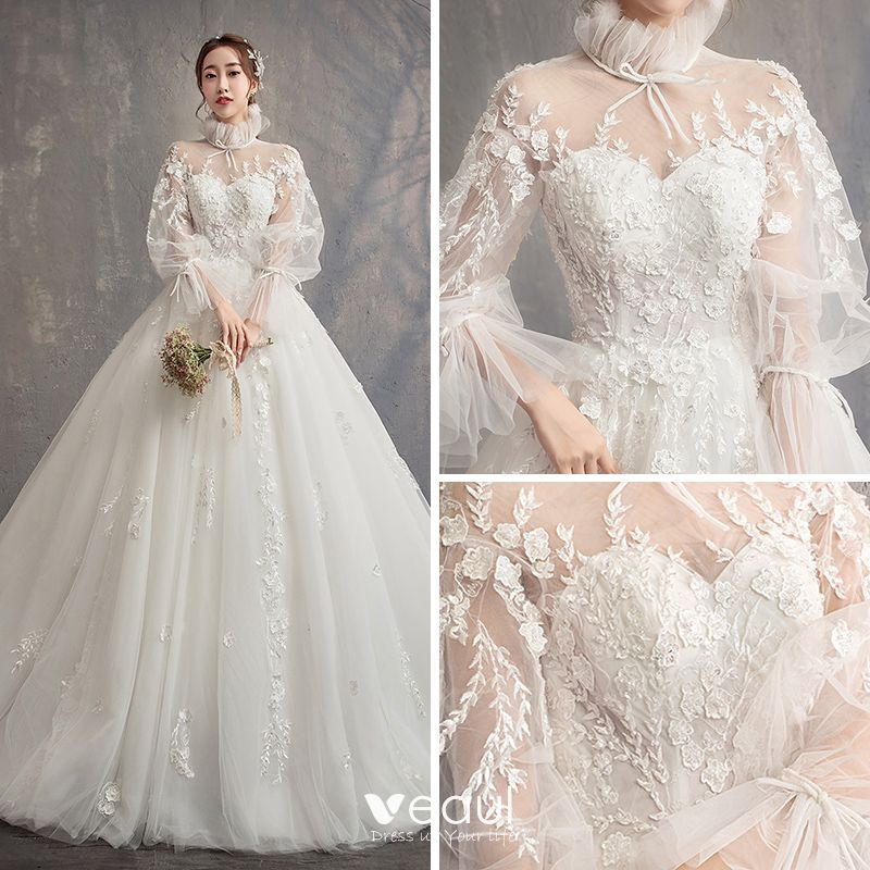 See Through Wedding Gown: Vintage / Retro Ivory See-through Wedding Dresses 2019