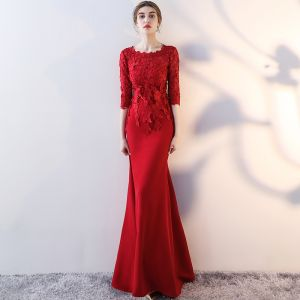 Chic / Beautiful Burgundy Evening Dresses  2017 Trumpet / Mermaid Scoop Neck 3/4 Sleeve Appliques Lace Floor-Length / Long Formal Dresses