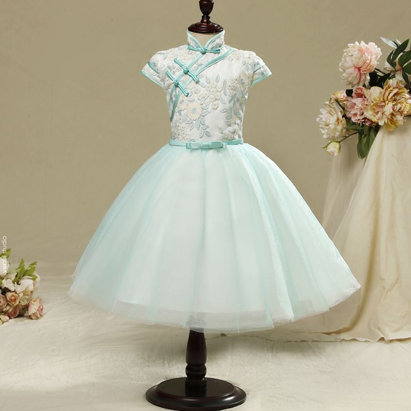 Chinese style Hall Wedding Party Dresses 2017 Flower Girl Dresses Sky Blue Knee-Length Ball Gown Cascading Ruffles Bow Sash High Neck Short Sleeve Flower Appliques