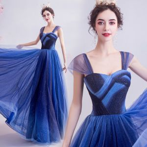 Elegant Ocean Blue Glitter Evening Dresses  2020 A-Line / Princess Spaghetti Straps Sleeveless Backless Floor-Length / Long Formal Dresses