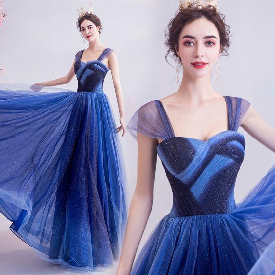 Elegant Ocean Blue Glitter Evening Dresses  2020 A-Line / Princess Spaghetti Straps Sleeveless Backless Floor-Length / Long Formal Dresses