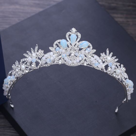 Modest / Simple Silver Wedding Tiara 2018 Metal Pearl Rhinestone Beading Accessories