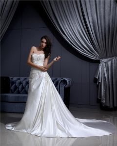 Strapless Lace Up Sleeveless Floor Length Applique Beading Ruffle Charmeuse Woman A Line Wedding Dress
