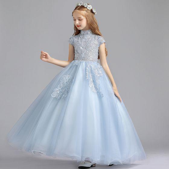 Elegantes Azul Cielo Vestidos para niñas 2019 A-Line / Princess Cuello Alto Sin Mangas Apliques Con Encaje Lentejuelas Largos Ruffle Vestidos para bodas