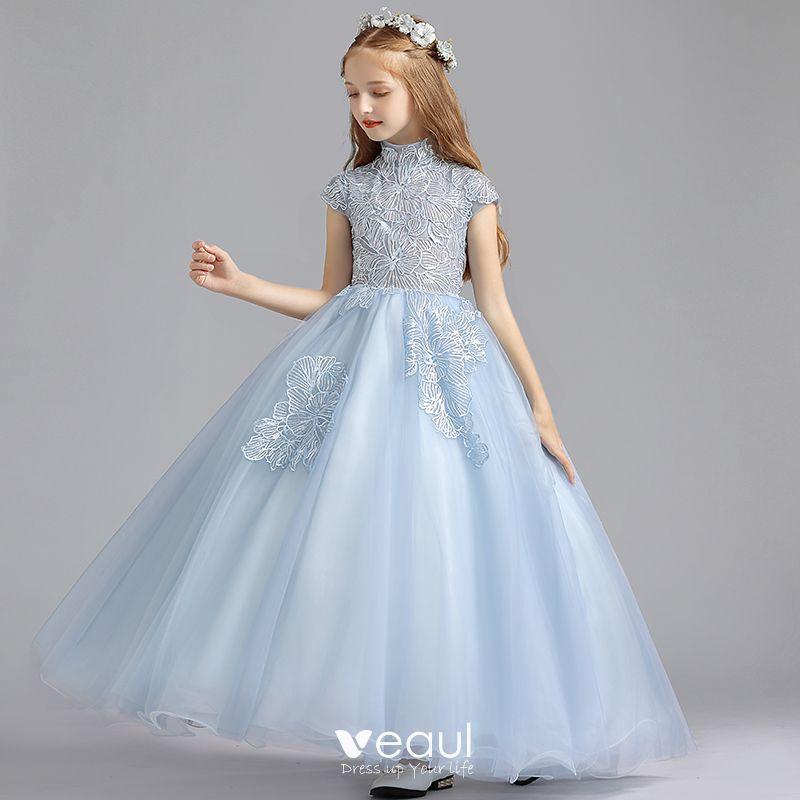 Elegantes Azul Cielo Vestidos Para Niñas 2019 A Line Princess Cuello Alto Sin Mangas Apliques Con Encaje Lentejuelas Largos Ruffle Vestidos Para
