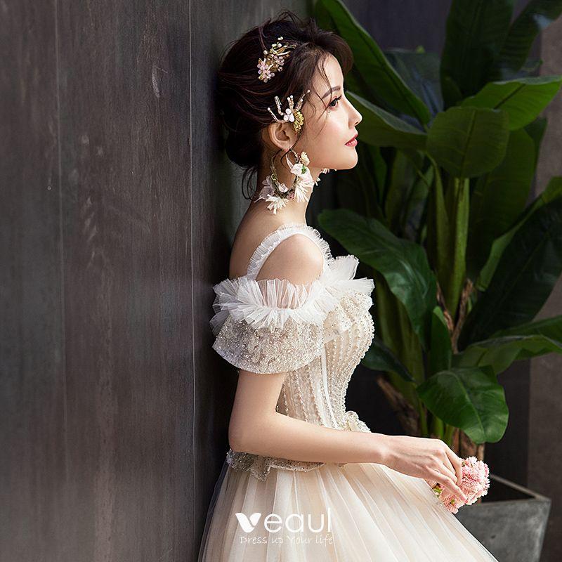 Elegant Champagne Wedding Dresses 2019 Ball Gown Ruffle
