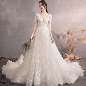Charmant Champagner Brautkleider / Hochzeitskleider 2019 A Linie Rundhalsausschnitt Star Spitze Blumen 3/4 Ärmel Rückenfreies Hof-Schleppe