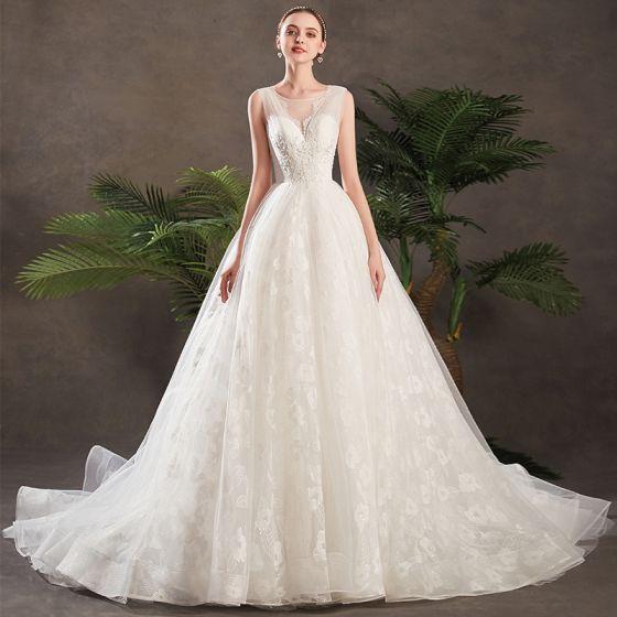 175b80fbda9 Chic   Beautiful Ivory Wedding Dresses 2019 A-Line   Princess See-through V-Neck  Sleeveless Backless Appliques ...