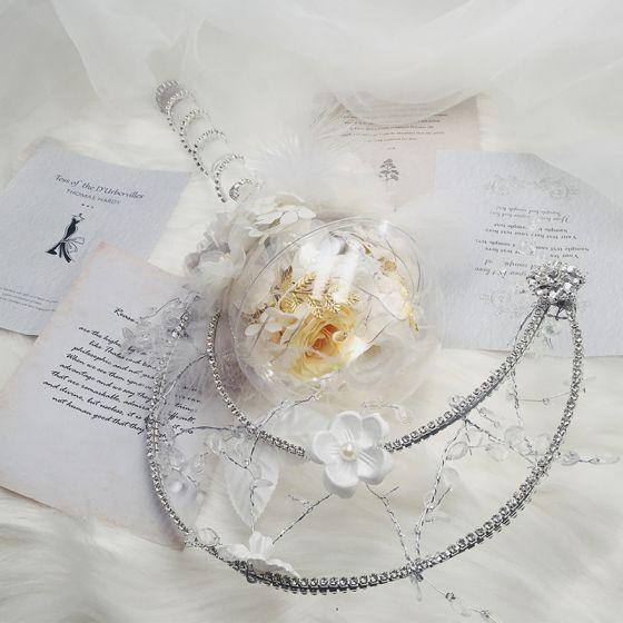 Eye-catching Flower Fairy White Wedding Flowers 2020 Metal Crystal Feather Flower Handmade  Bridal Engagement Wedding Accessories