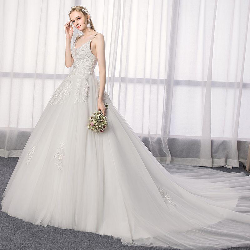 Elegant Ivory Wedding Dresses 2019 A-Line / Princess Spaghetti Straps Lace Flower Sleeveless Backless Royal Train