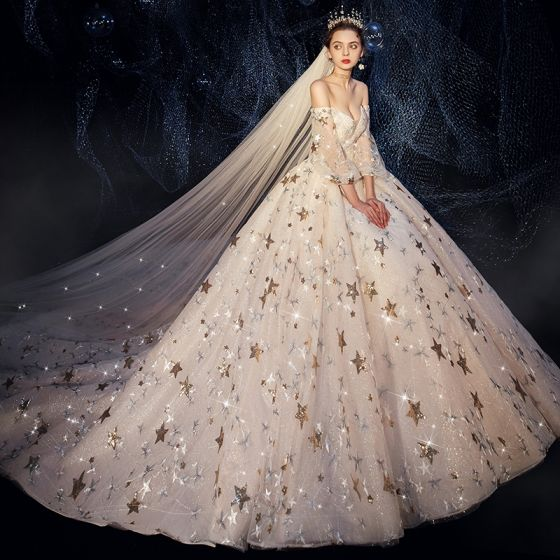 Luxury / Gorgeous Ivory Wedding Dresses 2019 A-Line / Princess Off-The-Shoulder Puffy 3/4 Sleeve Backless Sequins Star Glitter Tulle Beading Cathedral Train Ruffle