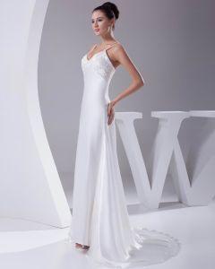 Charmeuse Elegant Perles De Courroie De Spaghetti Etage Longueur Robe De Mariée Robe De Mariage
