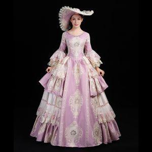Vintage Medeltida Lavendel Balklänning Balklänningar 2021 U-Hals Långärmad Långa Spets Appliqués Broderade Cosplay Bal Formella Klänningar
