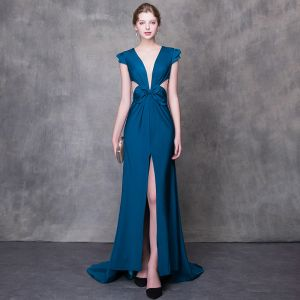 Modern / Fashion Ink Blue Evening Dresses  2018 Trumpet / Mermaid V-Neck Cap Sleeves Split Front Court Train Backless Formal Dresses