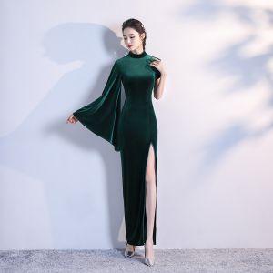 Sencillos Verde Oscuro Terciopelo Cheongsam 2020 Trumpet / Mermaid Cuello Alto Manga Larga Delante De Split Largos Vestidos Formales