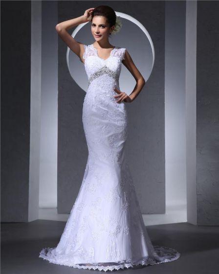 V Neck Beading Applique Floor Length Woman Mermaid Wedding Dress