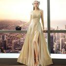 Illusion Gold Abendkleider 2018 A Linie Rundhalsausschnitt Ärmellos Applikationen Mit Spitze Durchbohrt Gespaltete Front Lange Rückenfreies Festliche Kleider