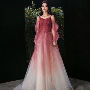 Elegant Burgundy Gradient-Color Champagne Evening Dresses  2020 A-Line / Princess Spaghetti Straps Puffy Long Sleeve Backless Beading Glitter Tulle Floor-Length / Long Ruffle Formal Dresses