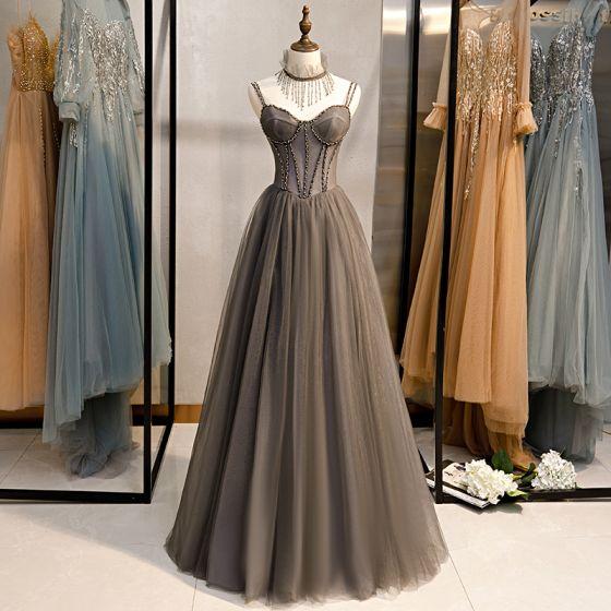 Piękne Szary Sukienki Wieczorowe 2020 Princessa Spaghetti Pasy Frezowanie Kutas Kryształ Bez Rękawów Bez Pleców Długie Sukienki Wizytowe