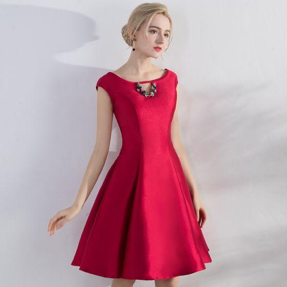 0b36ac495 Hermoso Rojo de fiesta Vestidos De Damas De Honor 2017 A-Line   Princess  Rhinestone Correas Cruzadas Scoop Escote ...