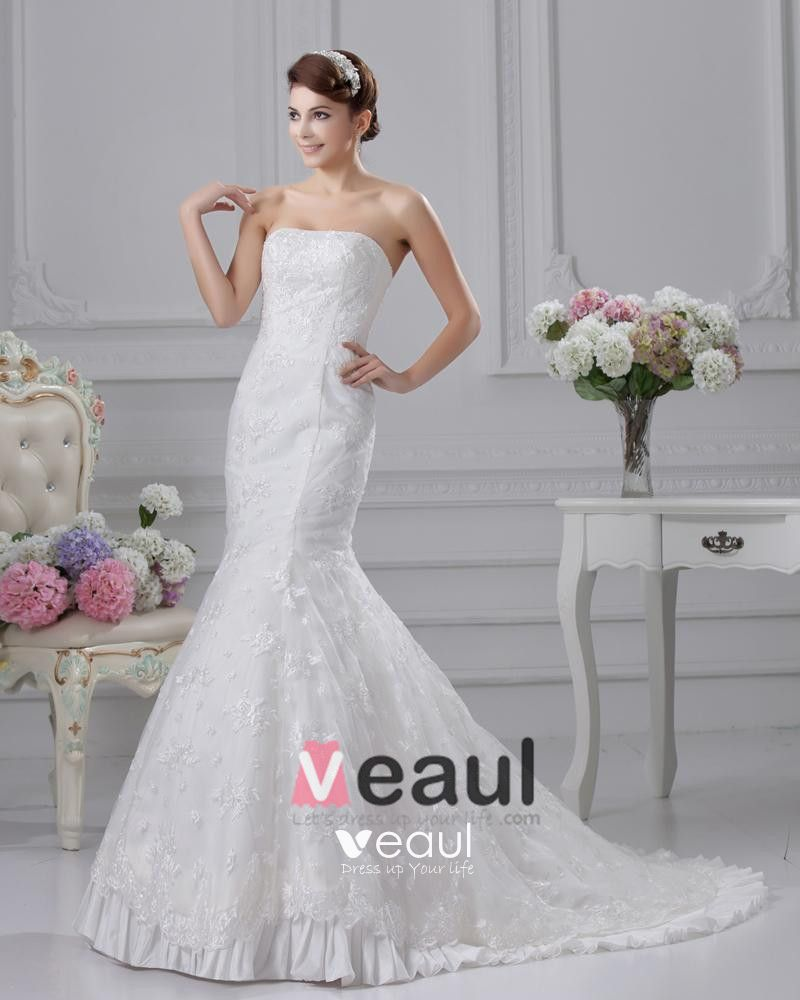 Lace Strapless Beading Applique Court Mermaid Bridal Gown Wedding Dresses