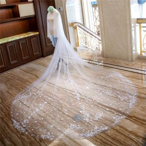 Amazing / Unique White Royal Train Wedding Tulle Star Appliques Starry Sky 4 m Wedding Veils 2018