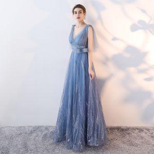 Schöne Himmelblau Abendkleider 2017 A Linie Schleife V-Ausschnitt Rückenfreies Ärmellos Lange Festliche Kleider