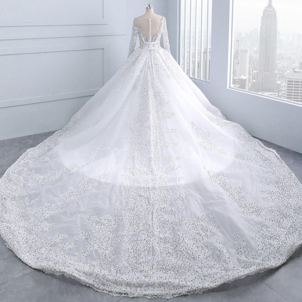 Luxury / Gorgeous White Royal Train Wedding 2018 Tulle U-Neck Backless Beading Crystal Rhinestone Ball Gown Wedding Dresses