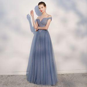 Chic / Belle Océan Bleu Robe De Bal 2018 Princesse Dos Nu Perlage Cristal De l'épaule Sans Manches Longue Robe De Ceremonie