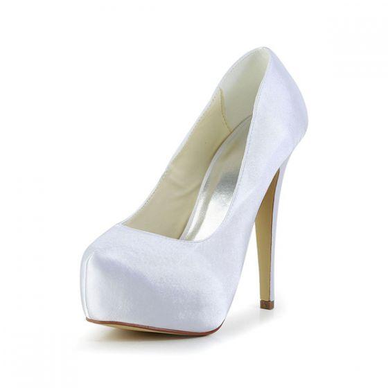 Simples Chaussures De Mariée En Satin Blanc Stilettos Escarpins De Plateforme