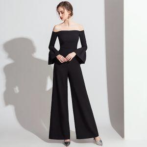 Chic / Belle Noire Combinaison 2019 De l'épaule Manches de cloche Longueur Cheville Dos Nu Robe De Soirée