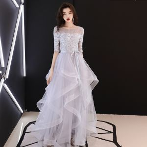 Elegant Grey Evening Dresses  2019 A-Line / Princess Scoop Neck Bow Lace Flower 1/2 Sleeves Backless Cascading Ruffles Floor-Length / Long Formal Dresses