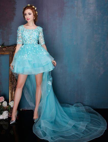 Smukke Blå Cocktailkjole Blomst Halsudskæring Organza Festkjole Med Lang Hale