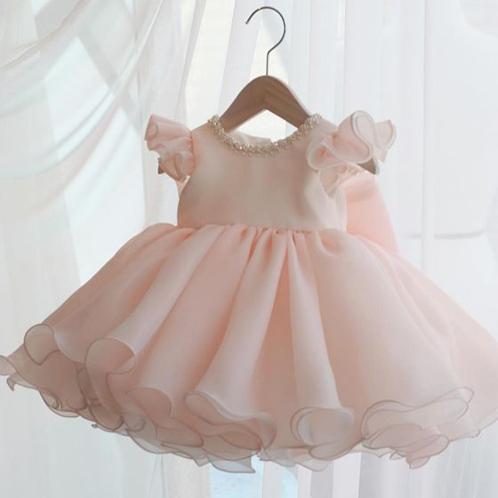 Chic / Beautiful Pearl Pink Organza Birthday Flower Girl Dresses 2020 Ball Gown Scoop Neck Cap Sleeves Bow Short Ruffle Wedding Party Dresses