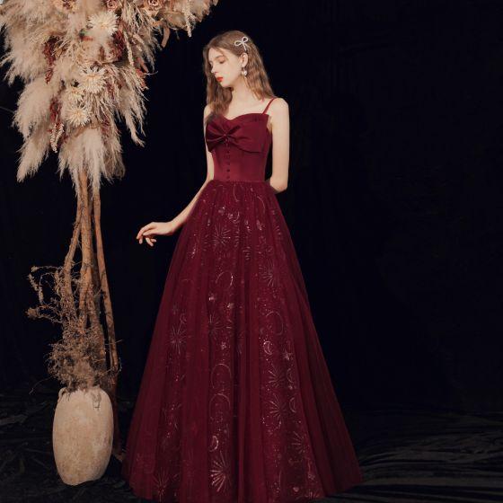 Bling Bling Burgundy Dancing Prom Dresses 2021 A-Line / Princess Spaghetti Straps Sleeveless Sequins Floor-Length / Long Ruffle Backless Formal Dresses